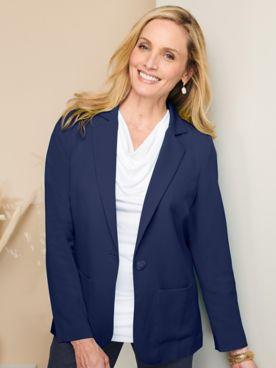 Look-Of-Linen Long Sleeve Blazer