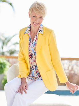 Look-Of-Linen Blazer &  Foxcroft American Blooms Shirt