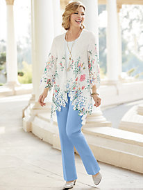 Blossoming Garden Lace Cascade Jacket & Herringbone Ankle Pants