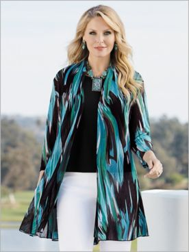 Brushstroke Wave Print Mesh Jacket