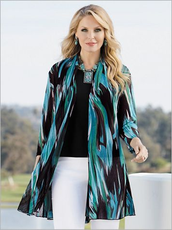 Brushstroke Wave Print Mesh Jacket - Image 2 of 2