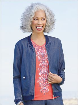 Sun City Bomber Jacket by Alfred Dunner