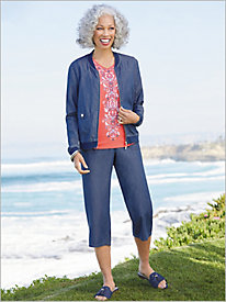 Sun City Bomber Jacket & Cargo Capris by Alfred Dunner