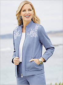 Novelty Chambray Bomber Jacket
