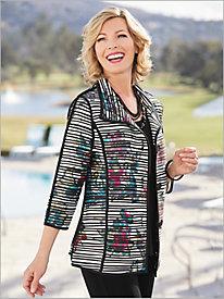 Stripe Waves Button Front Knit Jacket