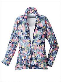 Denim Floral Burnout Jacket