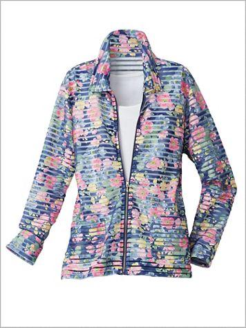 Denim Floral Burnout Jacket - Image 2 of 2
