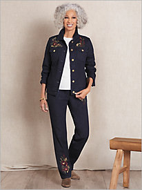 Slimtacular® Decorated Denim Jacket & Denim Pants
