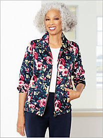Floral Printed Microfiber Jacket by D&D Lifestyle&#8482