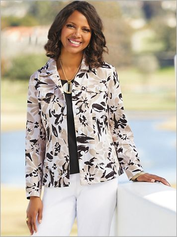 Neutral Watercolor Print Jacket - Image 1 of 1