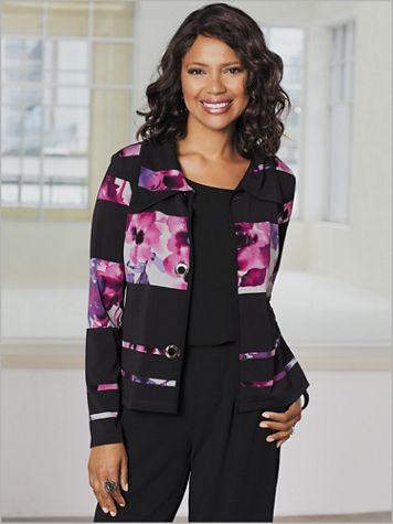 Floral Stripe Crepe Knit Jacket - Image 2 of 2