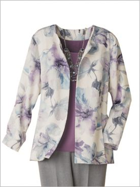 Watercolor Jacquard Jacket by Alfred Dunner