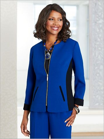 Colorblock Textured Stretch Crepe Jacket - Image 1 of 3