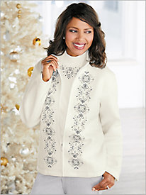 Embroidered Fleece Jacket by Alfred Dunner