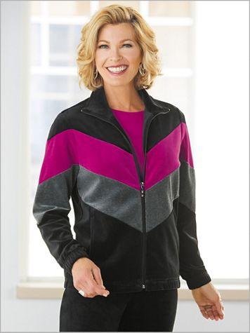 Colorblock Velour Jacket by D&D Lifestyle™ - Image 0 of 1
