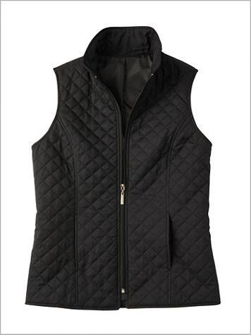 Microfiber Zip-Front Quilted Vest - Image 3 of 3