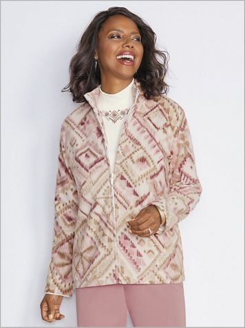 Diamond Print Fleece Jacket by Alfred Dunner - Image 2 of 2