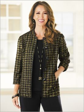 Metallic Houndstooth Jacket