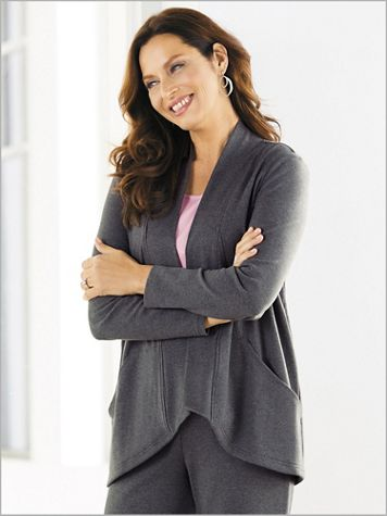 Easy Knit Drape Front Cardigan by D&D Lifestyle™ - Image 1 of 3