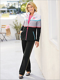 Fiesta Fun Colorblock Jacket & Sporty Stitch Pants by D&D Lifestyle&#8482