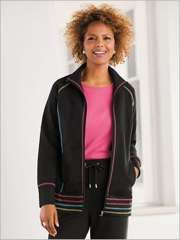 Sporty Stitch Jacket by D&D Lifestyle™ - Image 1 of 3