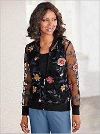 Embroidered Floral Mesh Jacket