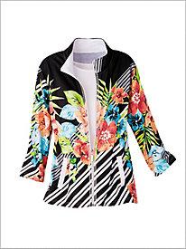 Romantic Floral Stripe Jacket by D&D Lifetyle&#8482