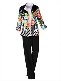 Romantic Floral Stripe Jacket & Sporty Stitch Pant by D&D Lifestyle&#8482