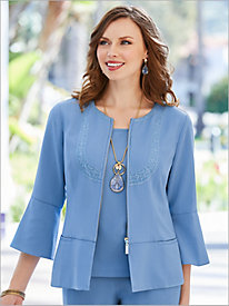 Look-Of-Linen Peplum Jacket
