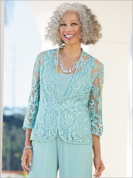 Enchanted Embroidered Twin Set by Alex Evenings