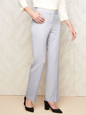Bi-Stretch Straight Leg Zip-Front Pants