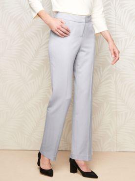 Bi-Stretch Straight Leg Zip-Front Pants