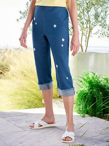 Alfred Dunner Embroidered Daisy Pull-On Denim Capris - Image 2 of 2