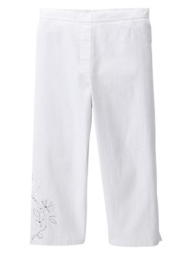 Alfred Dunner Embroidered Denim Capris