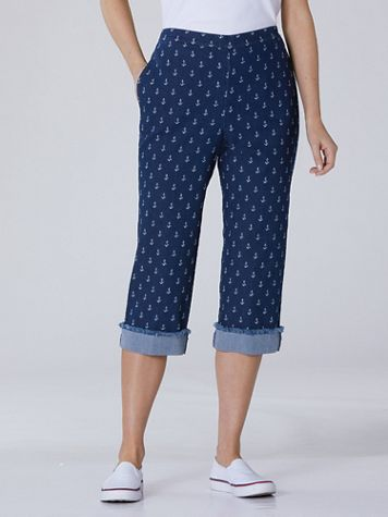 Alfred Dunner Anchor Print Denim Capris - Image 4 of 4