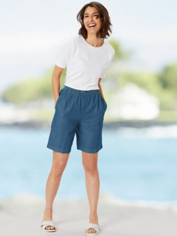 Essential Jewel Neck Tee & Everyday Denim Shorts