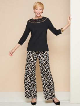Crochet Trim Knit Tee & Abstract Neutral Knit Pants