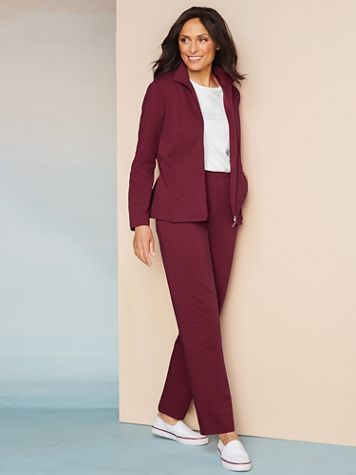 At Ease French Terry Jacket & Pant Set by D&D Lifestyle™ - Image 1 of 5