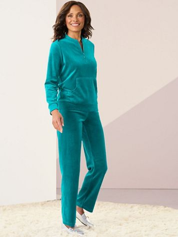 Velour Half Zip Pullover & Pant Set by D&D Lifestyle™ - Image 1 of 3