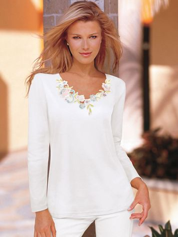Together Cotton Poly Long Sleeve Floral Appliqué Top - Image 1 of 4