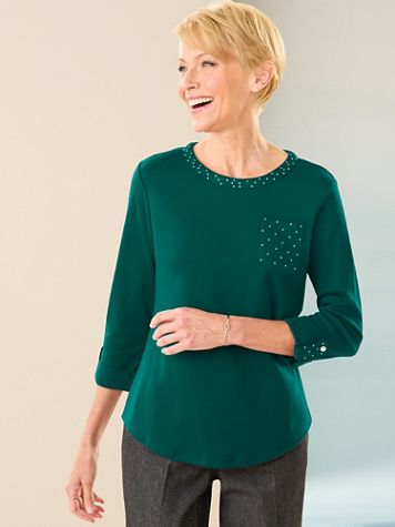 Ladies Who Lunch Knit 3/4 Sleeve Tee - Image 1 of 10