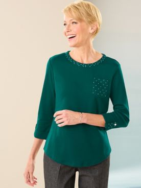 Ladies Who Lunch Knit 3/4 Sleeve Tee