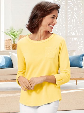 Ladies Who Lunch Knit 3/4 Sleeve Tee - Image 1 of 6
