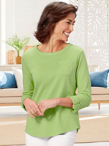 Ladies Who Lunch Knit 3/4 Sleeve Tee - Image 1 of 8