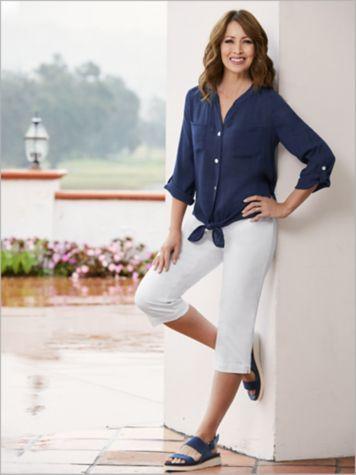 Ruby Rd. Silky Gauze Tie Front Top & Slimtacular® Capris