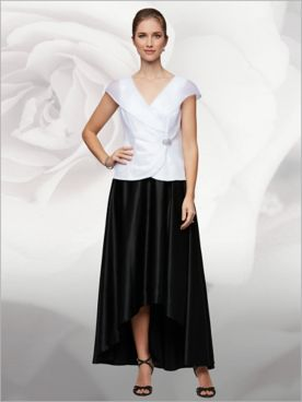 Ornamented Organza Blouse & Satin Skirt by Alex Evenings