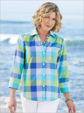 Foxcroft Wrinkle-Free Island Sky Plaid 3/4 Sleeve Shirt