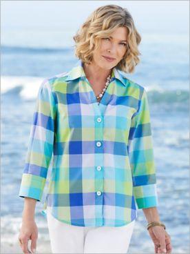 Foxcroft Wrinkle-Free Island Sky Plaid 3/4 Sleeve Shirt