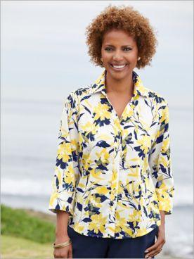 Foxcroft Wrinkle-Free Sunny Sunshine Floral 3/4 Sleeve Shirt