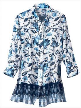 Floral Border Blues Shirt